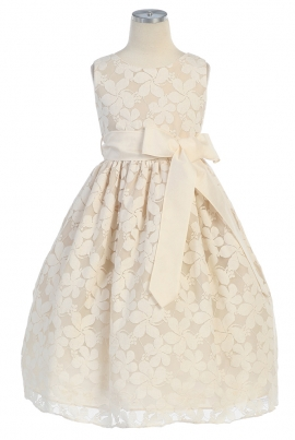 Girls Ivory Dress by Sweet Kids -282. Flower pattern lace dress.