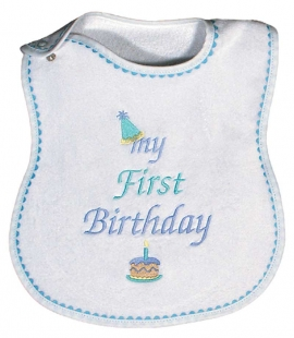 Boys My First Birthday Bib Embroidered