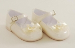 Girls Patent Leather Ivory Shoe with Bow