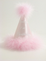 First Birthday Hat Pink with Pink Marabou