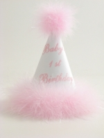 First Birthday Hat White satin with Pink Marabou