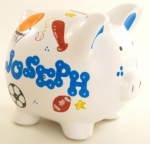 Personalized Piggy Bank White