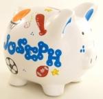 Personalized Piggy Bank White
