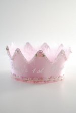 Girls First Birthday Crown All Pink