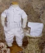Boys Baptismal  Vested Gabardine Short Sleeve Coverall by Little Things Mean Alot
