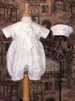 Boys Baptismal Dupioni One Piece Suit  w/ Sailor Collar by Little Things Mean Alot