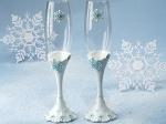 Winter wonderland collection toasting flutes.
