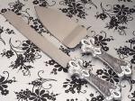 Platinum Fleur De Lis collection Cake and Knife set. 1758CC
