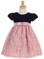 Lito Holiday Dress Rose Corded Tulle and Black Velvet - C997 Red