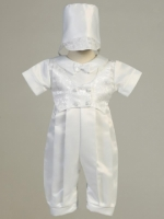 Boys Satin Long Romper with Jacquard Vest